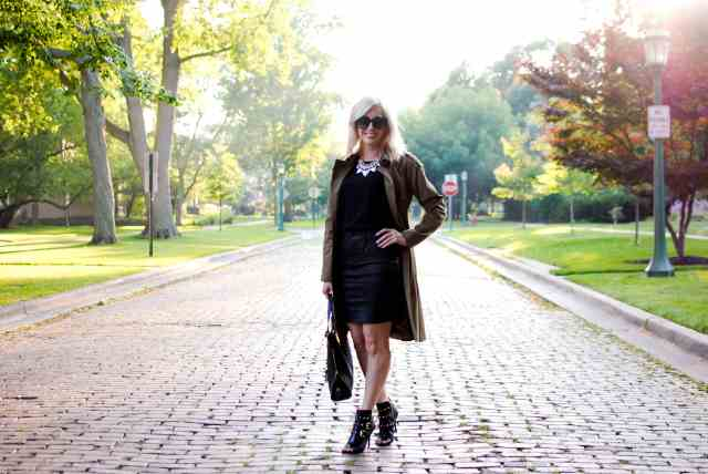 pencil skirt, peep toe botties, trench coat