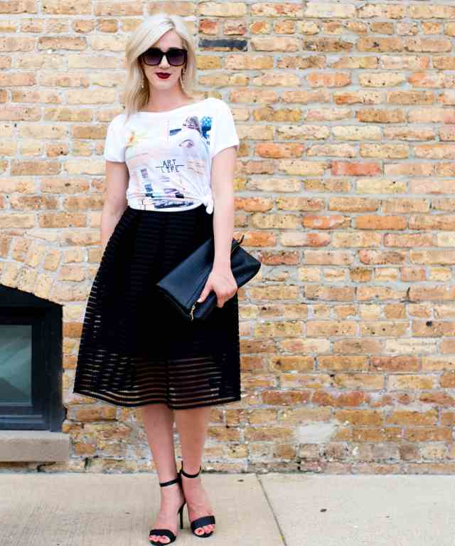 cut out black midi skirt
