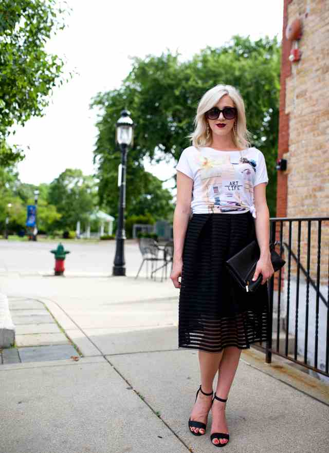 cut out black midi skirt, graphic tee