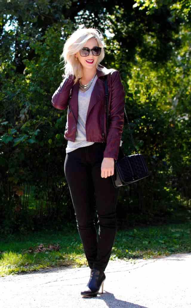 oxblood faux leather jacket