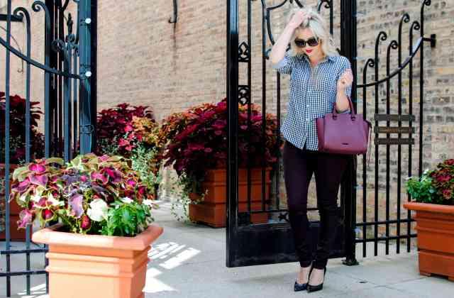 gingham shirt, burgundy pants