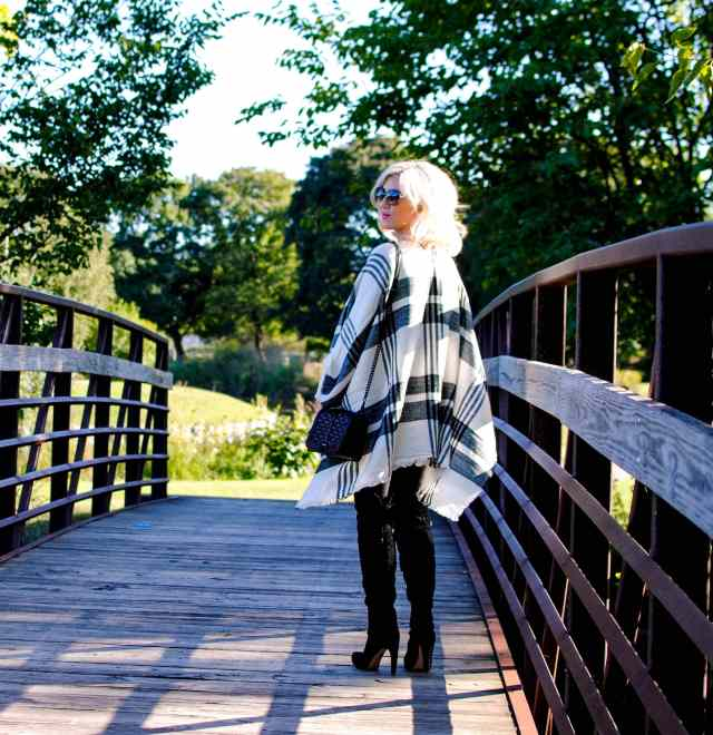plaid poncho, faux leather leggings, over the knee boots
