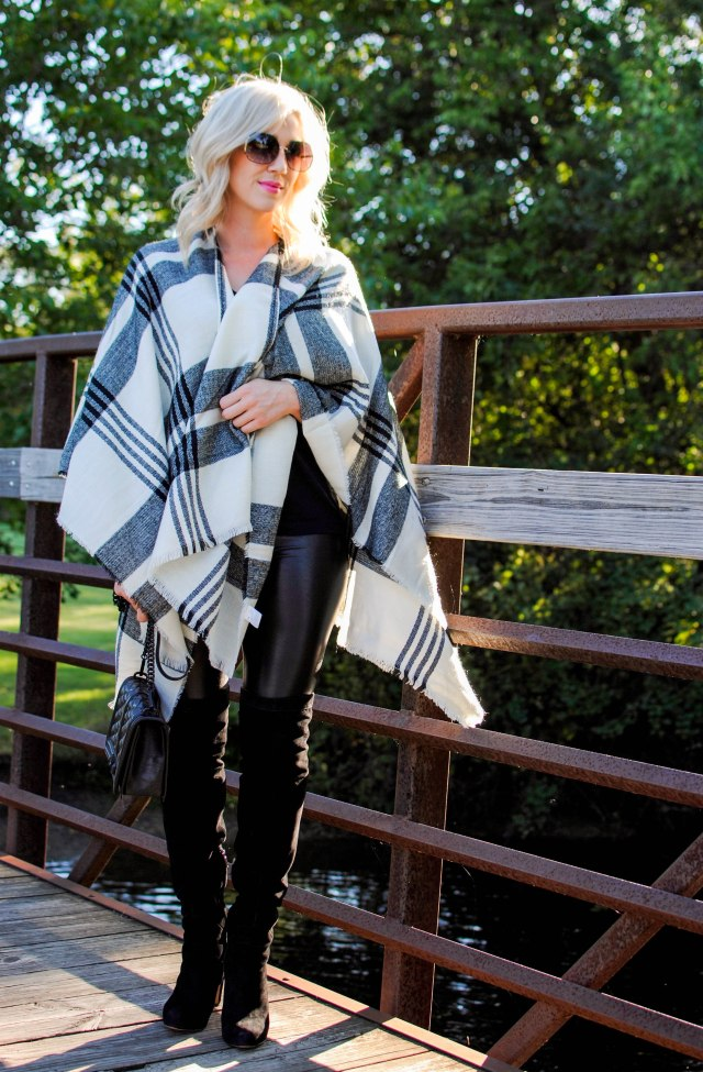 over the knee boots, faux leather leggings, poncho