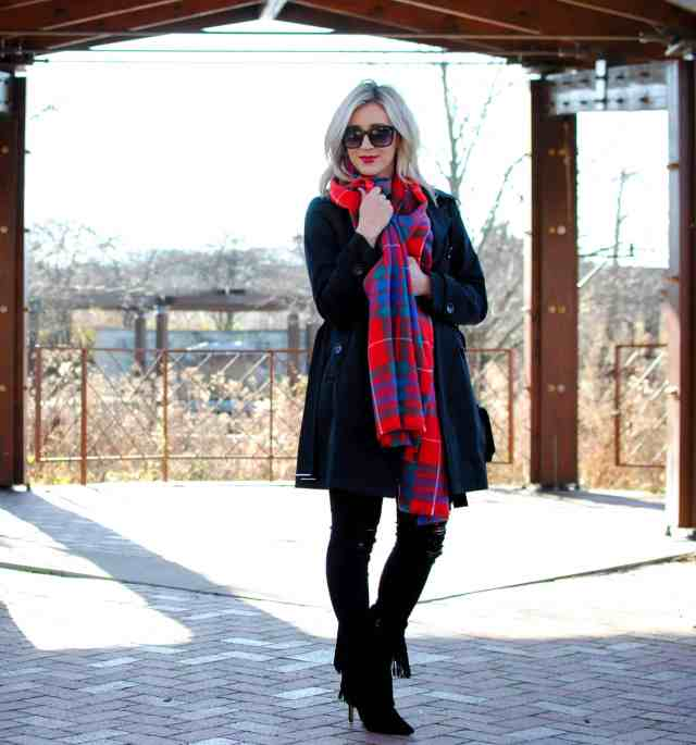 cozy in a scarf, plaid scarf