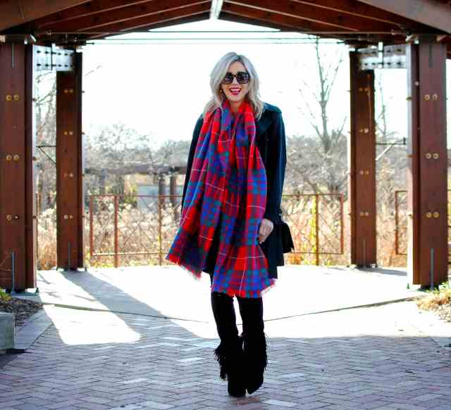 old navy red plaid scarf
