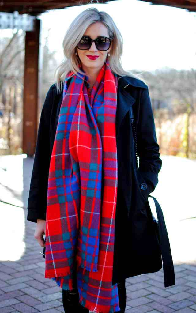 buxom forbidden berry lipstick, old navy flannel scarf, red plaid