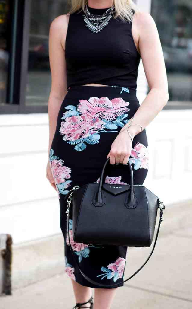 givenchy antigona black, elizabeth and james pencil skirt, topshop crop top, bcbg necklace