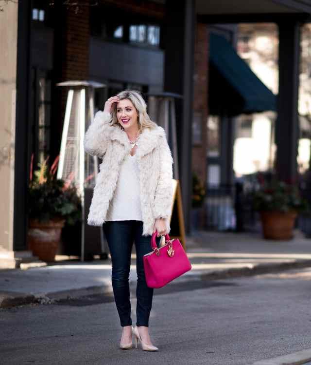 topshop cream faux fur coat