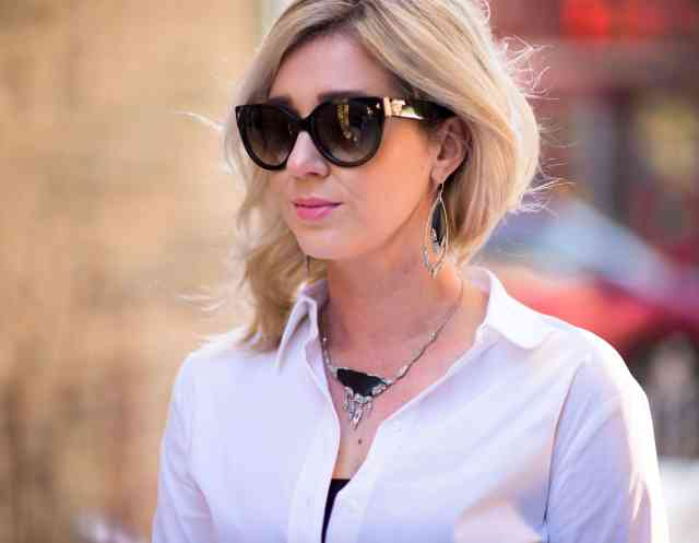 alexis bittar necklace & earrings, prada sunlgasses