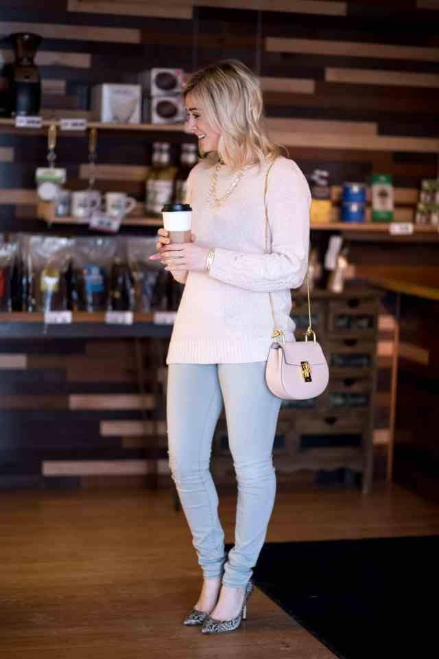 frame grey ripped denim, pink sweater, chloe drew bag, bcbg pumps, coffee
