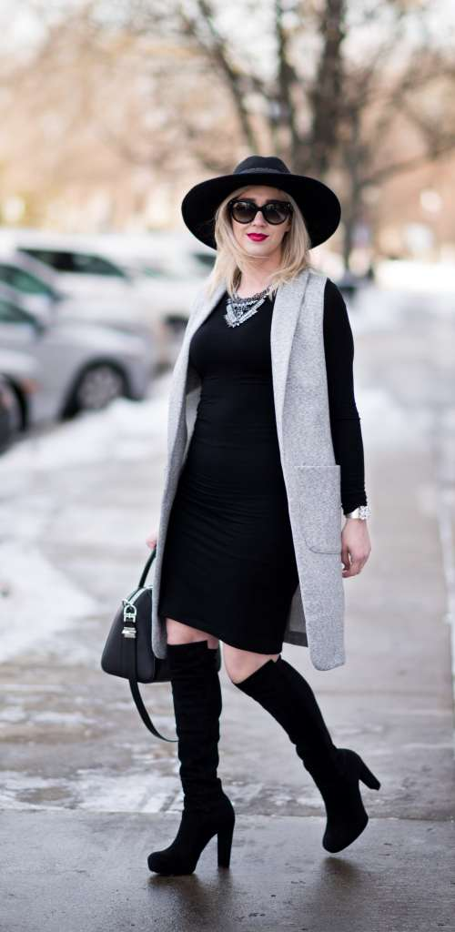 grey long vest, over the knee boots