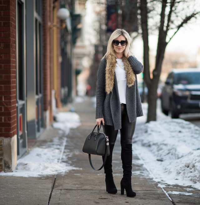faux leather leggings, over the knee boots
