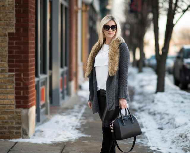 faux fur cardigan, givenchy bag