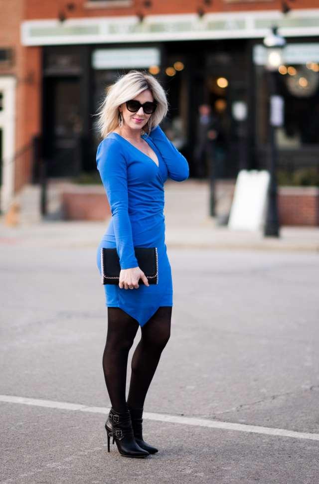 blue wrap body con dress