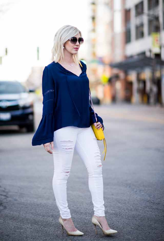 bell sleeve, white ripped denim