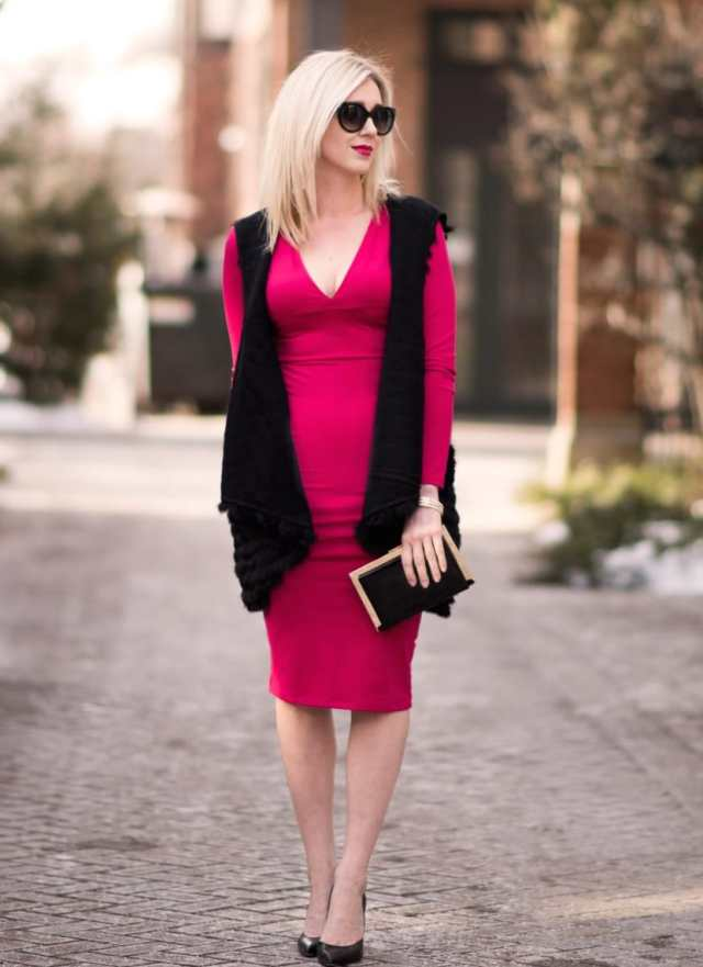 leith red v-neck dress