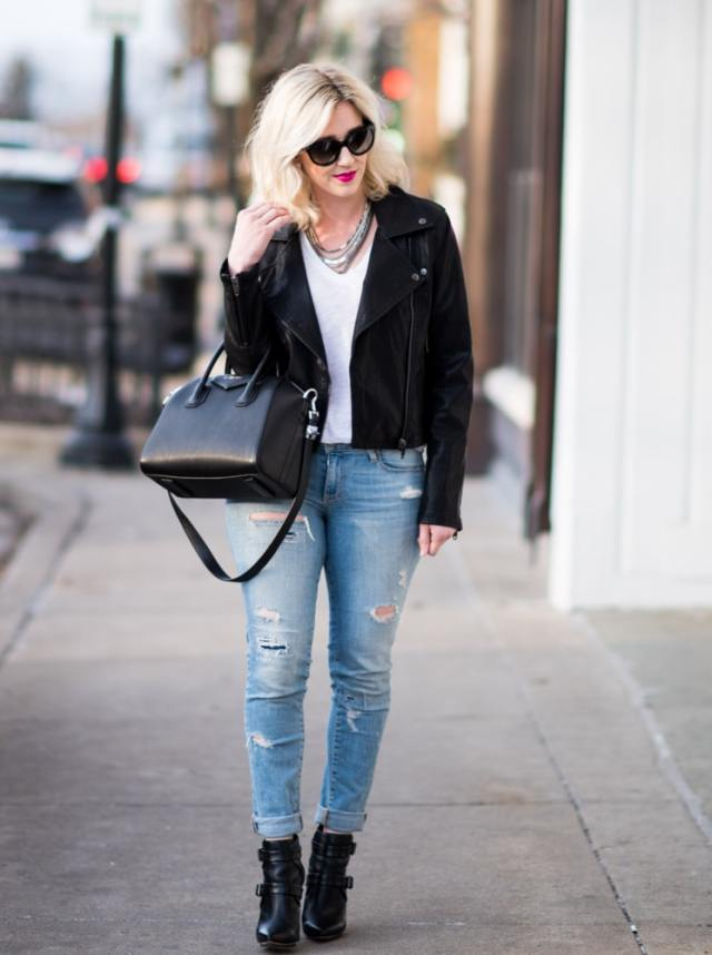 street style, leather jacket, ripped jeans