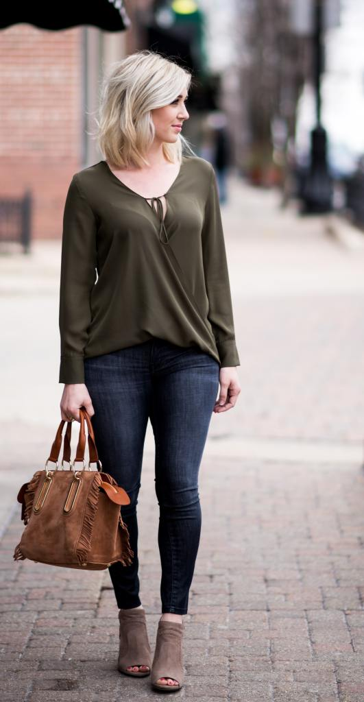 Wrap Front Long Sleeve Blouse green