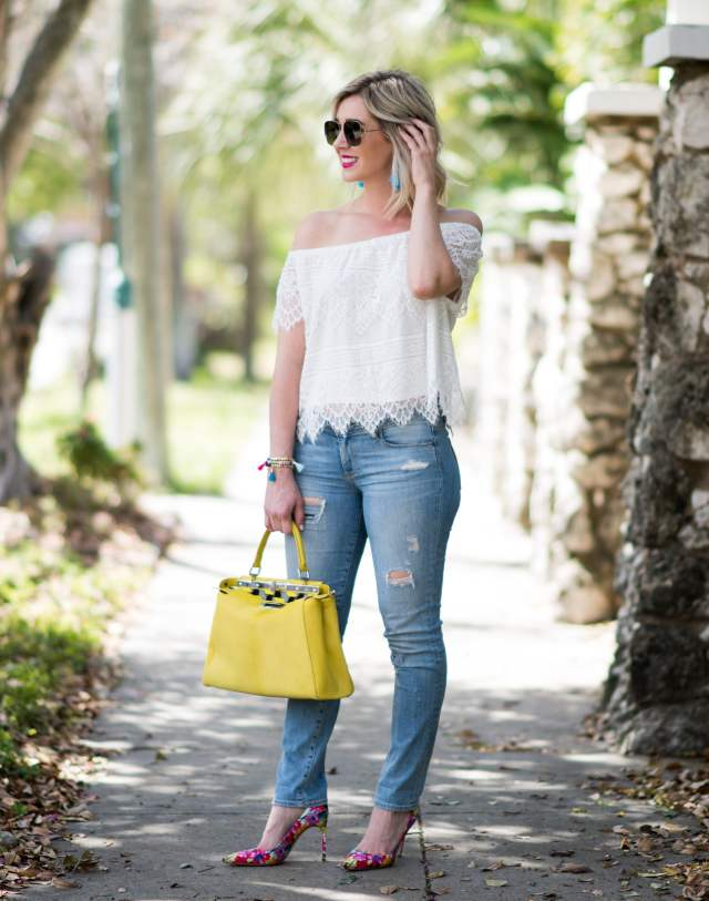Fendi Bag and Manolo Blank with White lace top