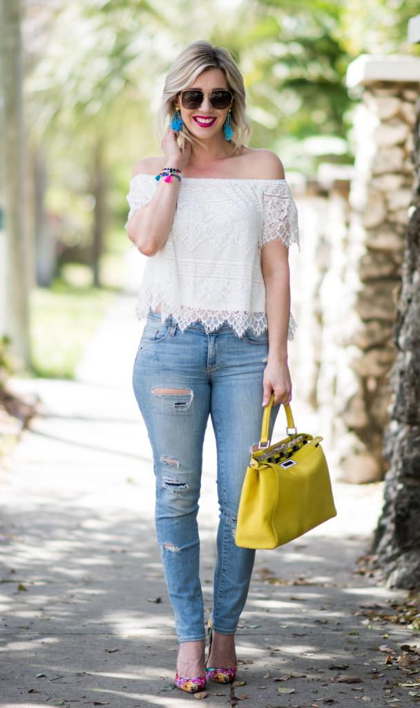 White lace top with Destroyed Denim