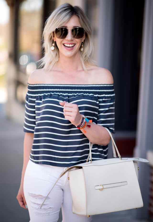 topshop bardot Stripe Smock Off the Shoulder top