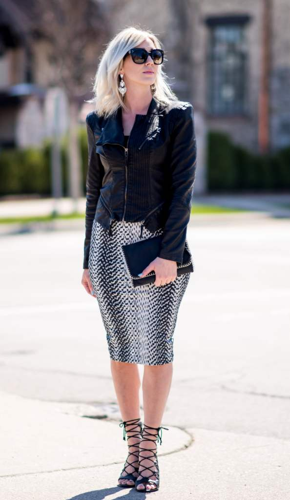 pencil skirt & faux leather jacket
