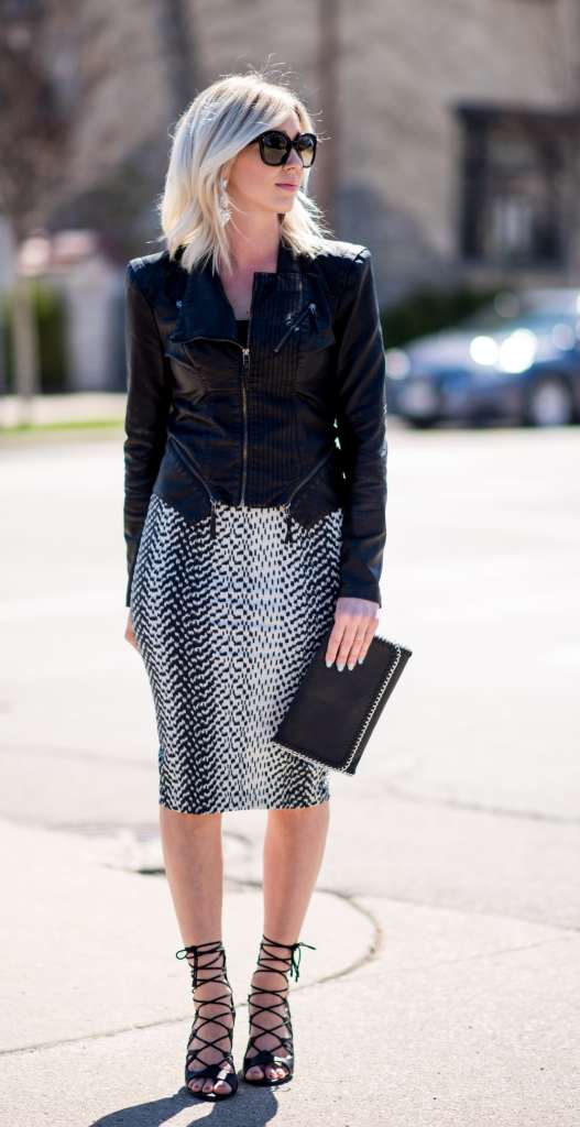 pencil skirt & leather jacket