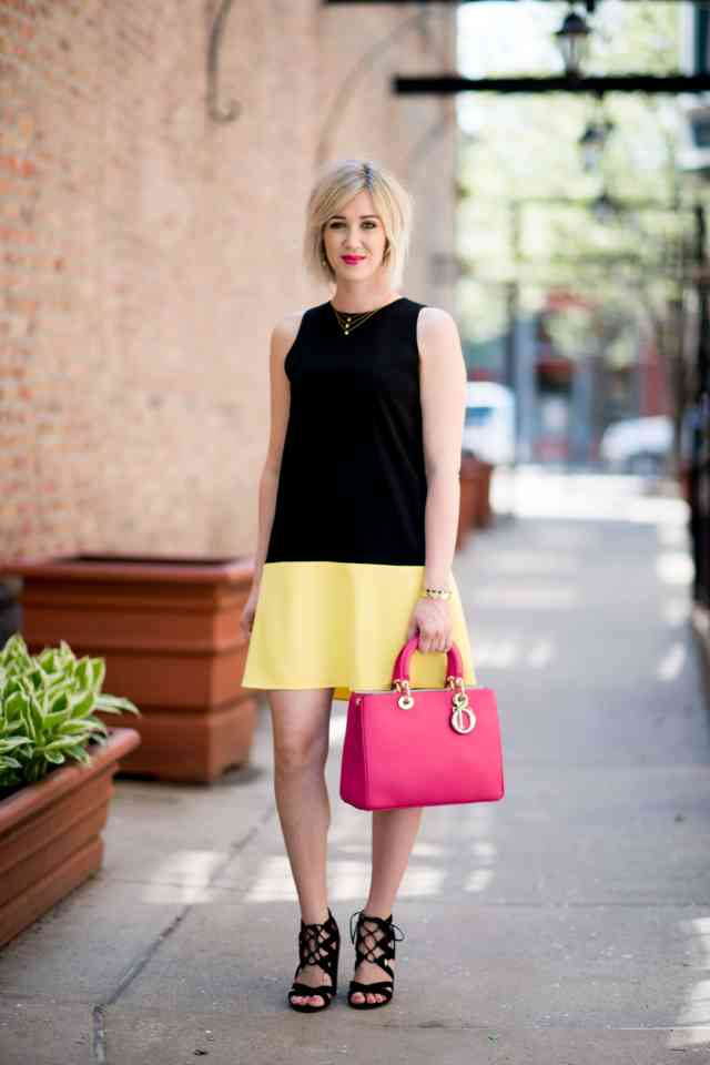 black & yellow shift dress
