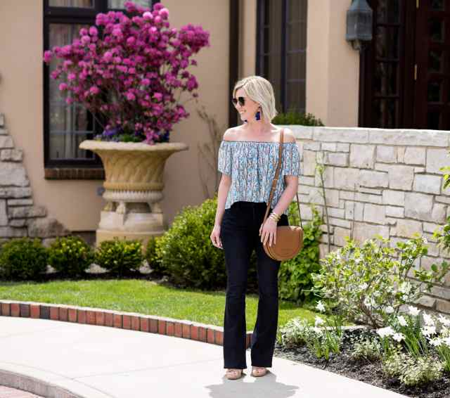 flare jeans & off the shoulder top