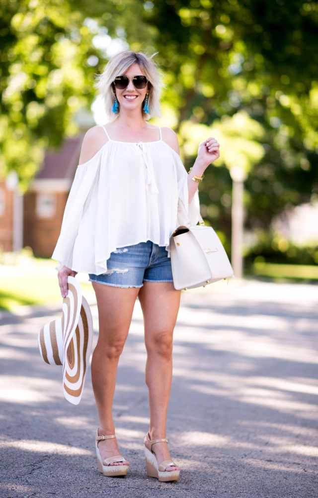 cold shoulder top, white