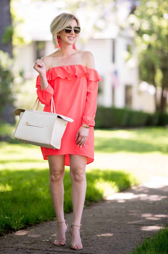 a by amanda 'Joanna' Ruffle Off the Shoulder Dress