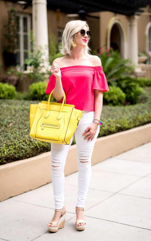hot pink off the shoulder top