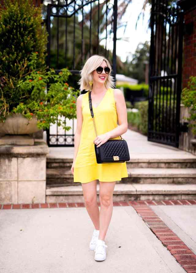 alice & olivia yellow shift dress