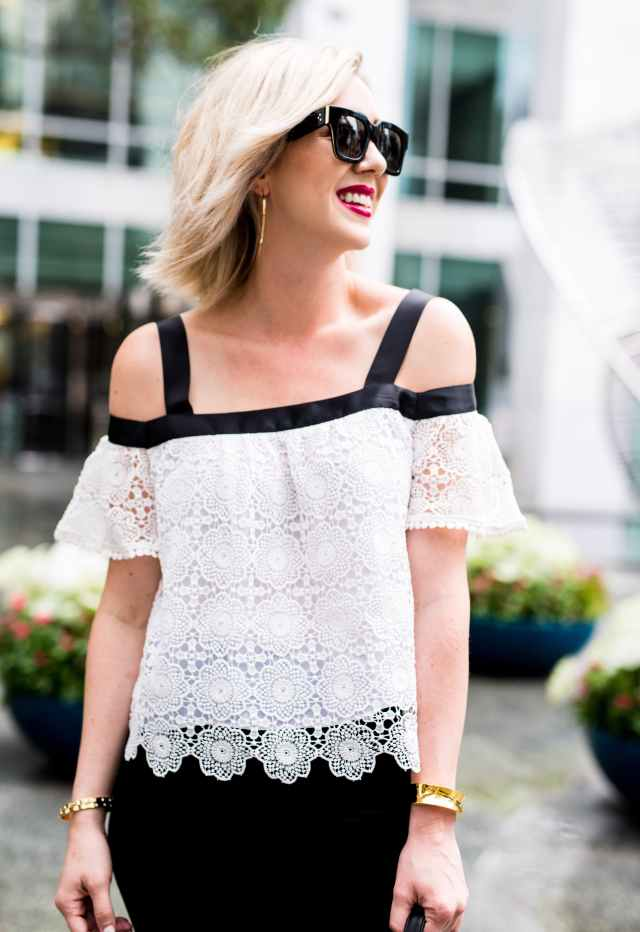 Grosgrain Trim Lace Off the Shoulder Top