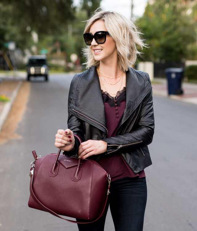 Trouve Drape Front Leather Jacket Black
