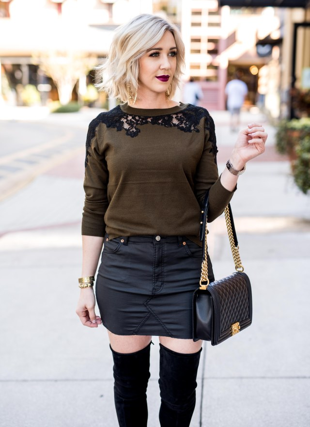 topshop lace cold shoulder sweater
