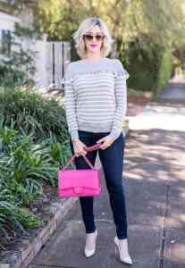 chelsea28 Ruffle Stripe Sweater