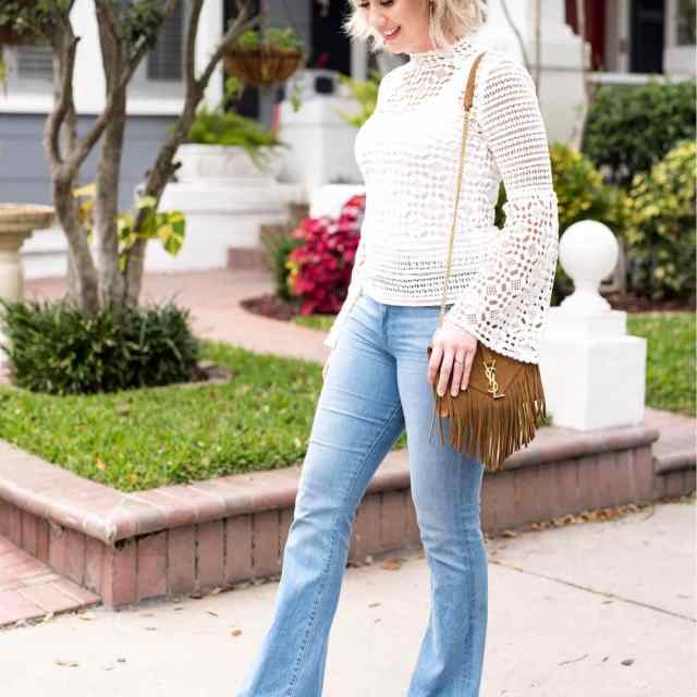 Bell sleeves and flare jeans  This look on thehellip