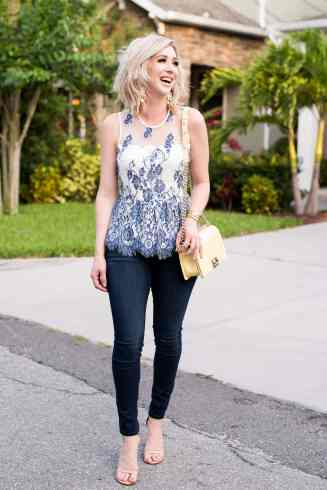Blue & White Lace Top
