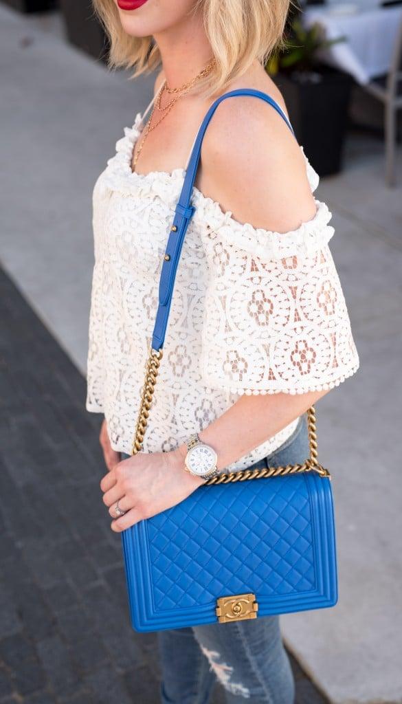 Chanel boy bag blue