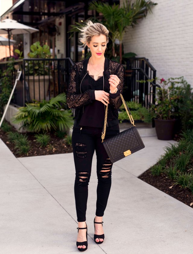 Pixie Sheer Lace Bomber Jacket