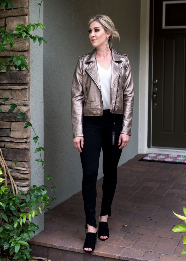 blank nyc Metallic Faux Leather Moto Jacket