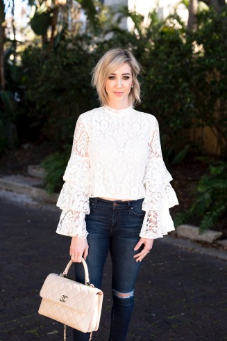 Ruffle Sleeve Lace Top