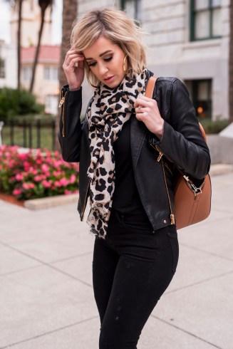 Faux Leather Jacket & Leopard Scarf