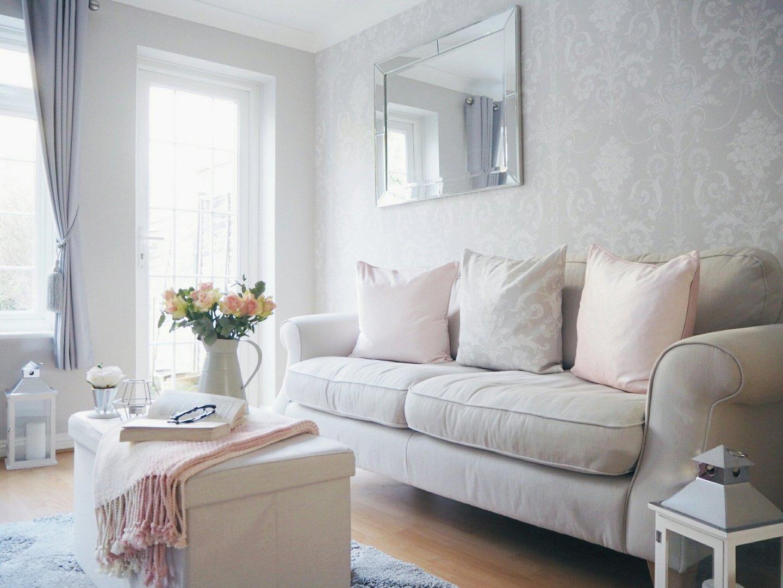spring pink grey living room