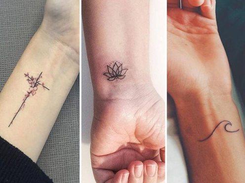 tatuaggi piccoli femminili fiore croce onda