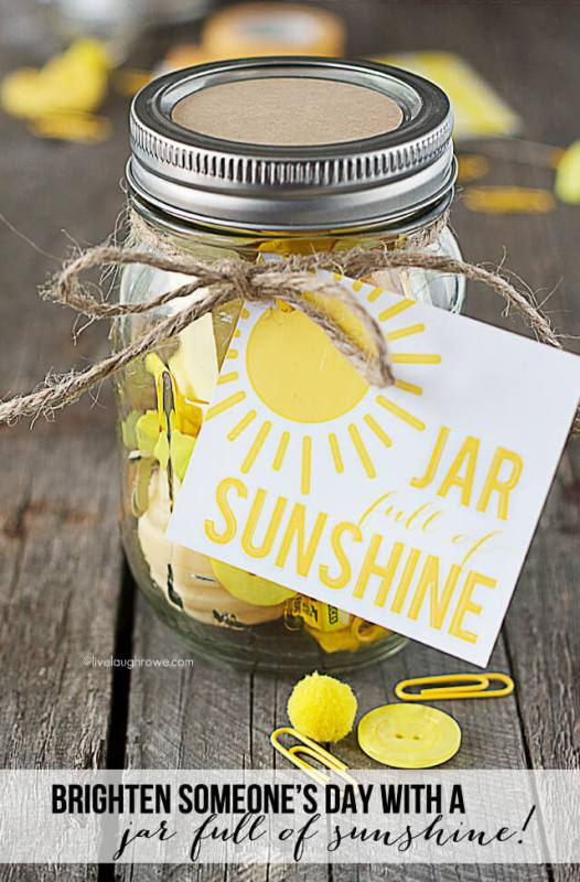Love this idea! Brighten up someones day with a jar full of sunshine (i.e. all kinds of random yellow items).