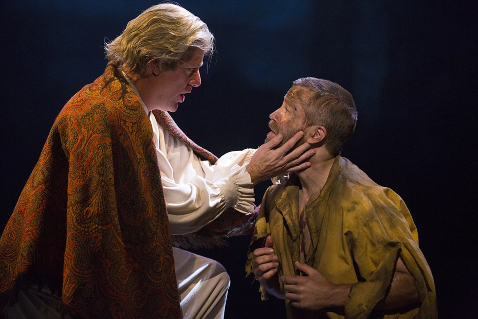 Rodney Dobson as The Bishop of Digne and Simon Gleeson as Jean Valjean. Photo by Matthew Murphy