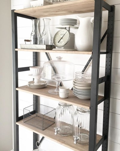 bakers rack cake platter dish storage milk glass