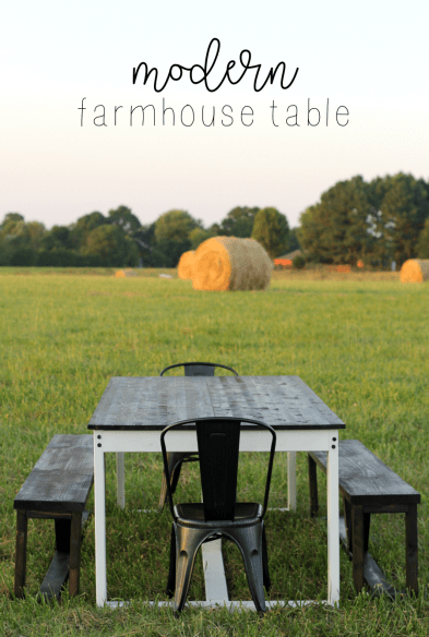How to Build a DIY Farmhouse Table - rustic modern timeless (pin)